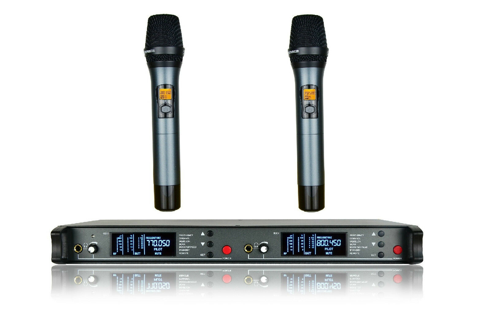 Dual Channels UHF Wireless Microphone System Speech Lecture Presentation Vocal