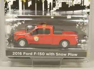 Greenlight-1-64-2016-Ford-F-150-with-Snow-Plow-Diecast-model-car