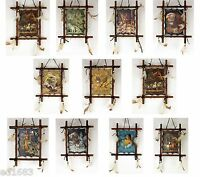11x 9 Framed Indian Animals Picture W/ String Beads Feathers - Great Gift Idea