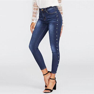 US Womens High Waist Jeans Ripped Skinny Slim Stretch Denim Pants Trousers S-3XL
