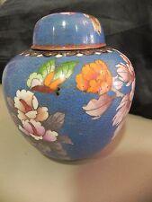 Vase Potiche Pot Couvert Bronze Emaux Cloisonne Chine Chinois Asiatique Japon