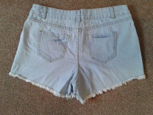 Shorts del Boho Tu Summer sexy di Nuovo Blue Frayed 12 denim Shorts Uk denim Pink del di IB80x