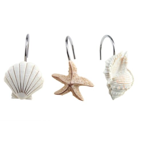 Assorted Sea Shell Shower Hooks 12Pk New in the Box Colorful Unique