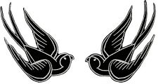 Big 4 IN Black Tattoo Sparrow Swallow Biker Iron On Badge Applique Patch