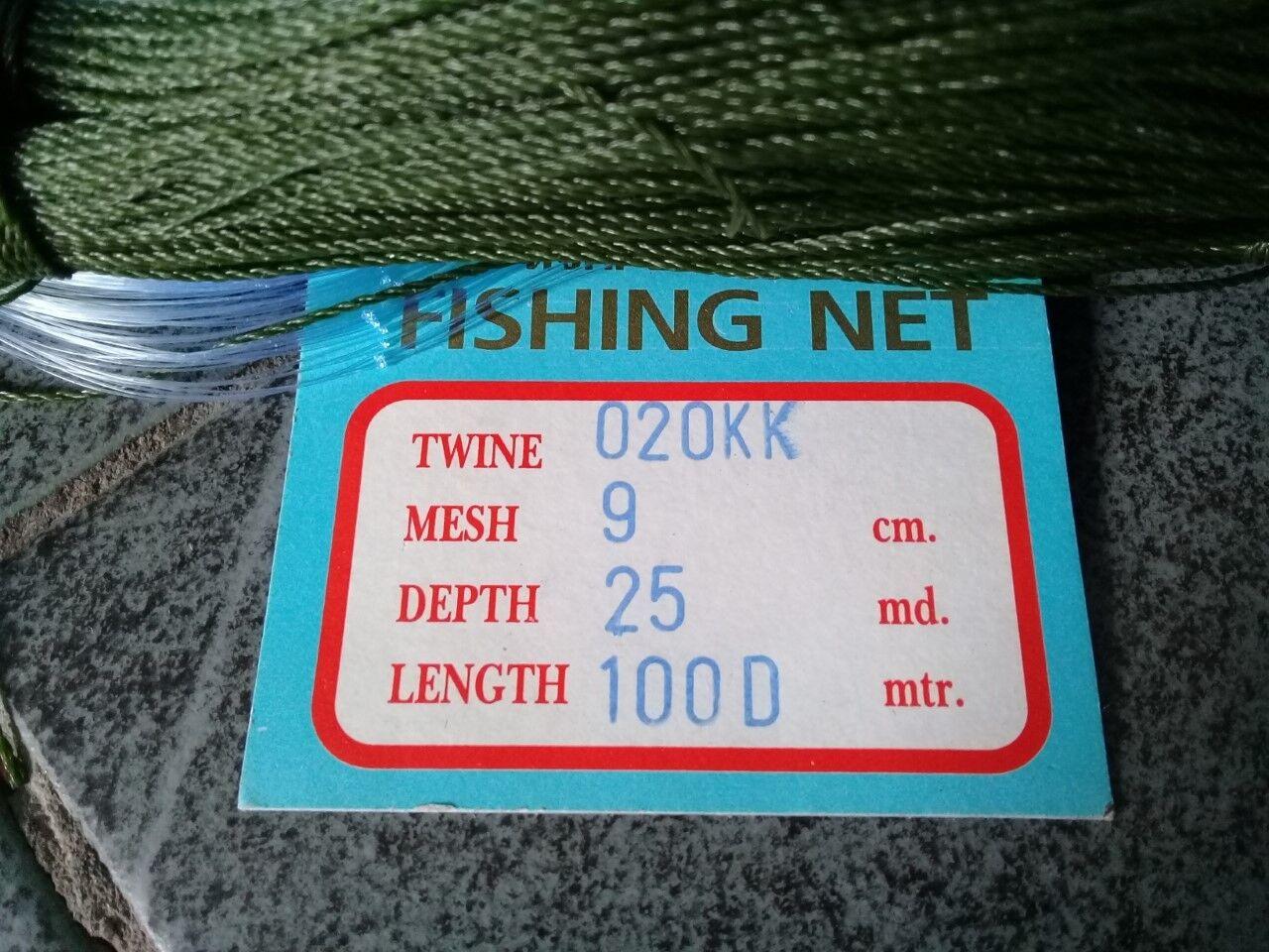 GILL NET 20 metres. 9cm mesh.  (65 ft) long  6.5ft depth   FREE POST