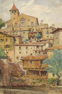 Art French Watercolor Drawing Landscape Auvergne Chanteuges Village Painting France To Ensure A Like-New Appearance Indefinably