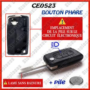 Citroen Coque de Clé Noire avec Bouton d'Activation des Phares (ref2488)