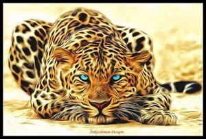 Safari-Leopard-Chart-Counted-Cross-Stitch-Pattern-Needlework-DIY-DMC