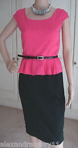 Gorgeous-Ex-Debenhams-Black-and-Pink-Belted-Peplum-Dress-8-10-12-14-16-18-20