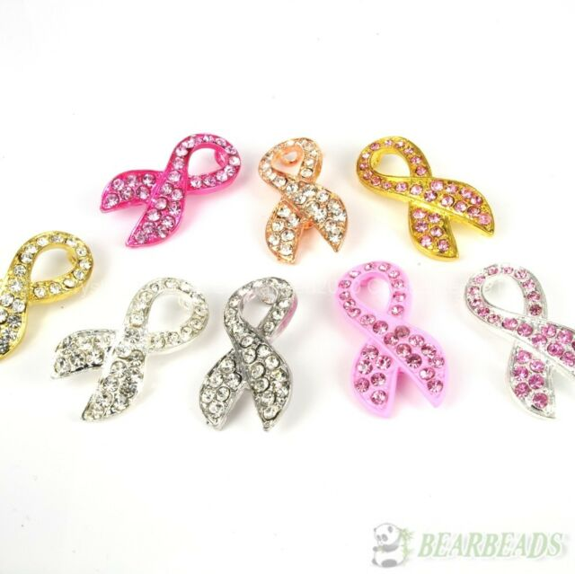 10pcs Crystal Rhinestones Ribbon Breast Cancer Bracelet Connector Charm Beads