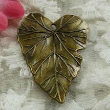 Free Ship 30 pieces bronze plated leaves pendant 33x26mm #1760