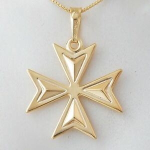 Malta maltese cross jewellery hallmarked 18ct 18k gold pendant image is loading malta maltese cross jewellery hallmarked 18ct 18k gold mozeypictures Choice Image
