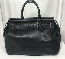 Ralph Lauren Vintage Black Pebble Leather Gladstone Tote Weekender Business Bag
