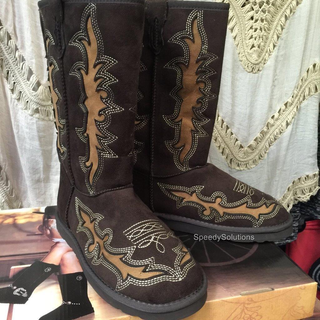 Forro De Piel Botas De De De Gamuza occidentales Damas Vaquera Zapatos Planos Montana West 43a2c6