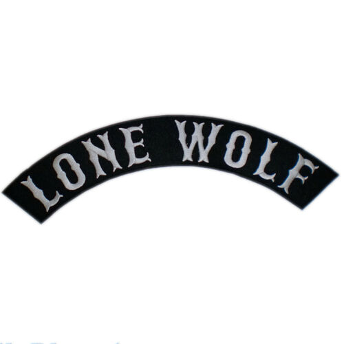 """LONE WOLF No Club Independent Free Biker Big Embroidered Rocker Back Patch 13/"""""""