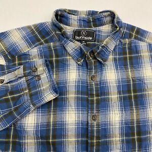 Burnside-Button-Up-Shirt-Men-039-s-2XL-XXL-Long-Sleeve-Plaid-Flannel-Casual-Cotton