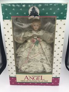 """HOLIDAY CLASSICS 11"""" ANIMATED ANGEL LIGHTED CHRISTMAS TREE TOPPER HAND PAINTED"""