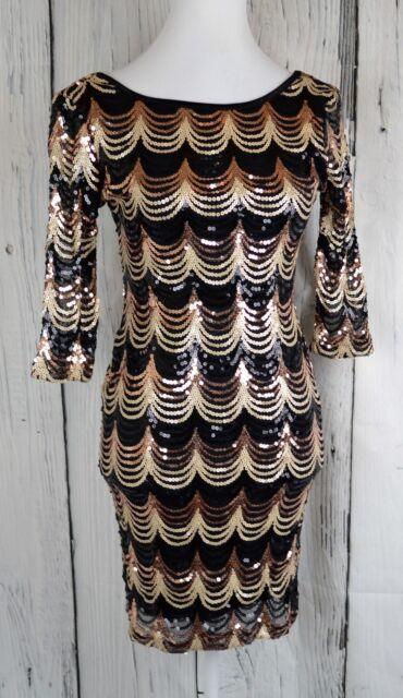 Crystal Doll Ladies S Sequin Dress Bodycon 3 4Sleeve Scallop Gold Black  D07-08 b02f53b32