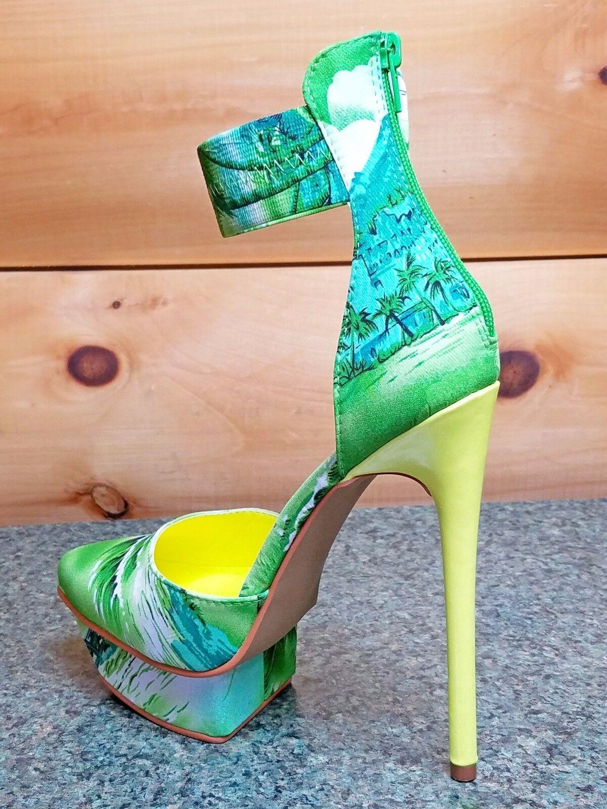 in vendita Privileged Viviette verde Neon Neon Neon giallo Multi Tropical Ankle Cuff Platform Shoe  promozioni eccitanti