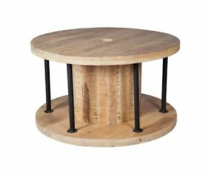 Details About Modern Industrial Look Coffee Table Round Shape Lining Room Furniture Solid Wood