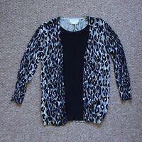Black/Grey/White Next Patterned Cardigan Blouse Top (Size 10)