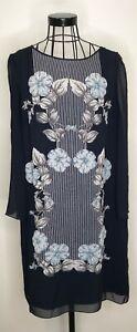 Stunning-MAX-STUDIO-MAX-MARA-Navy-Blue-Floral-Floaty-Tunic-Dress-Large-14-16