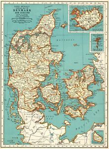 1937-Antique-DENMARK-Map-Collectible-Map-of-ICELAND-Map-Gallery-Wall-Art-7863