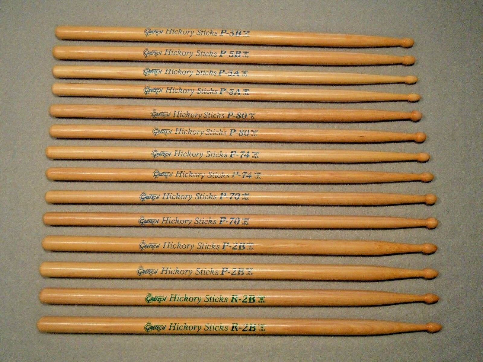NEW - 19 PAIRS   VINTAGE GRETSCH-USA DRUM STICK ASSORTMENT