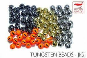 Pack of 50 New Black Heavy Tungsten Beads Slotted for Jig Hooks