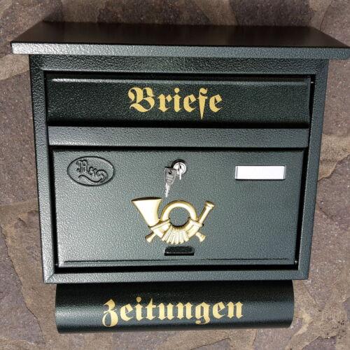 Moderner großer Briefkasten Postkasten in Grün Zeitungsfach Katalogeinwurf P