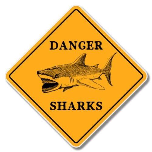 Danger requins Beach Surf Thème Voiture Ordinateur Portable Téléphone Vinyle Autocollant-sélectionnez la taille