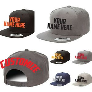 Details about Custom Embroidered Personalized Yupoong Flat Bill Snapback  Cap Hat 6089M