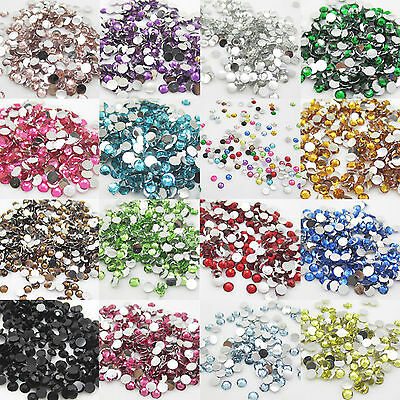 1000pcs 3 -6mm 14 Facet Acrylic Resin Rhinestone Flatback Multiple Color Crystal