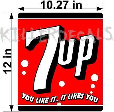 "13/""x11.1/""  7UP 7 UP COOLER POP soda coca cola machine decal 7UP401"