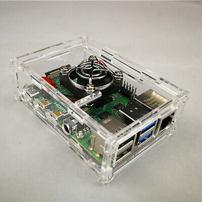 Raspberry Pi 4 Model B Clear Acrylic Case Enclosure Cooling Fan Tools with J6S4