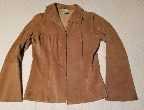 Boho Flare 70s Brown Suede Størrelse Retro Wet Seal Hippie M Sleeves Tan Jacket BzP1Yqw