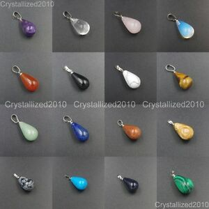 Natural-Gemstones-Drop-Raindrop-Reiki-Chakra-Healing-Pendant-Beads-Assorted