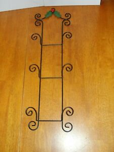 Vintage-Ornate-Black-Wire-Metal-3-Plate-Photo-Holder-Rack-Wall-Hanging-EUC