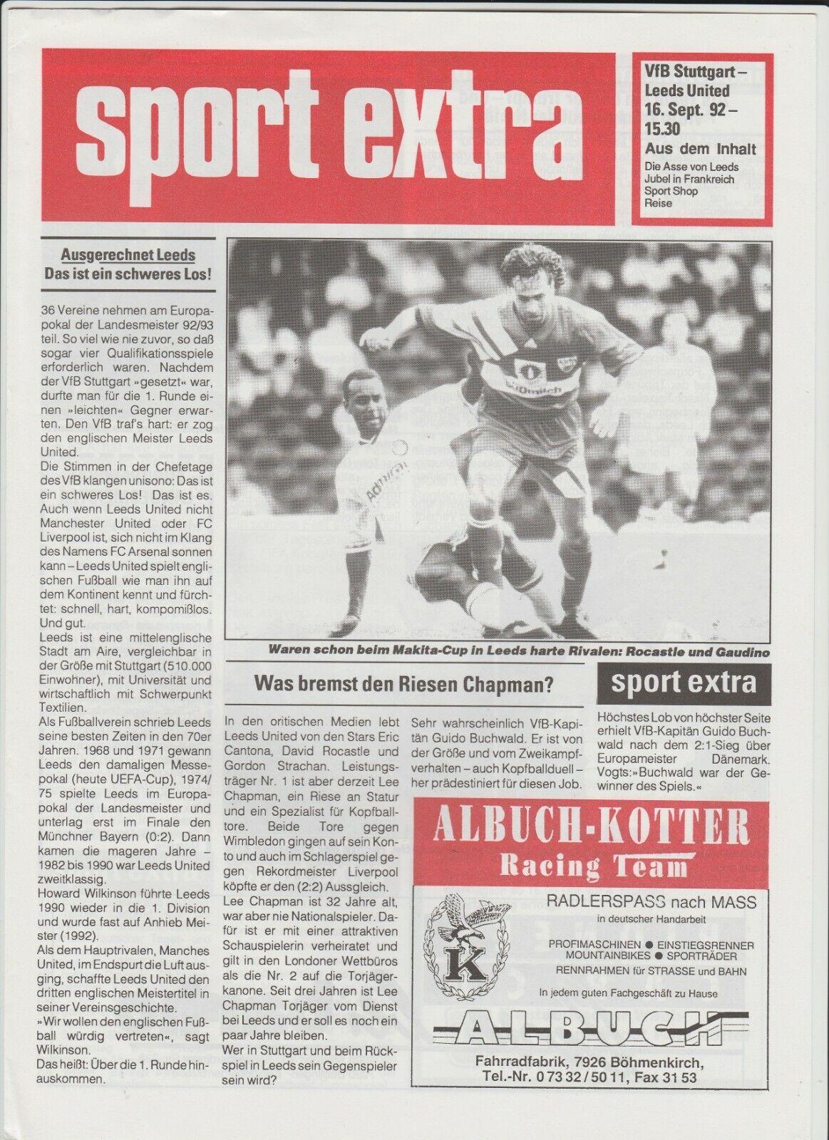 Orig.PRG  Champions League  1992 93     VfB STUTTGART - LEEDS UNITED  A     SELTEN 1c1d3b