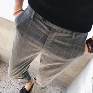 31a57d10c52 Mens Plaids Check Slim Fit Cropped Pants Casual Trousers Skinny ...