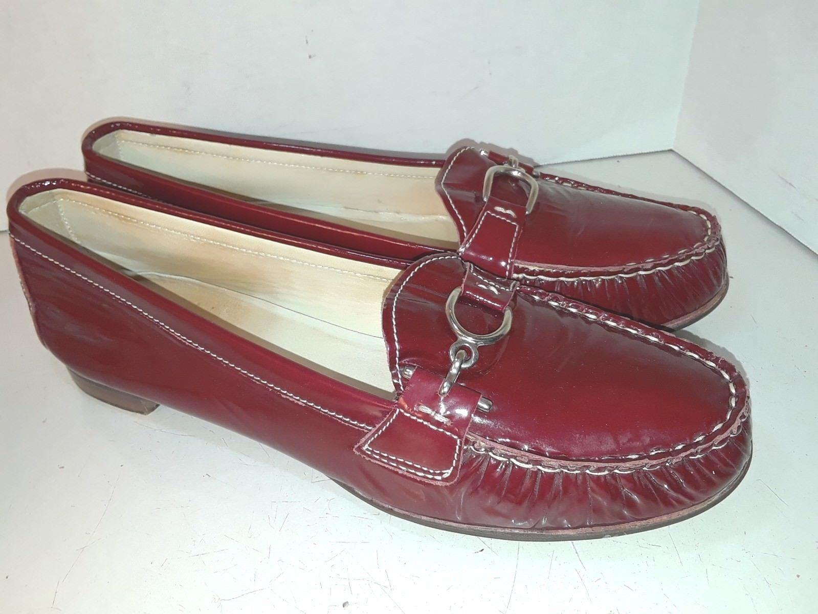 AGL Attilio Giusti Leombruni Red Patent Leather Loafers Slip On Womens Size 40.5