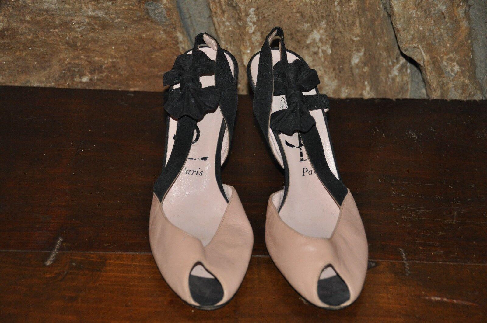 YSL Paris para Mujeres Zapatos rosado Superior Superior Superior De Cuero Puntera Abierta Arco de ESLINGA vuelta Talla EE. UU. 8M  sin mínimo