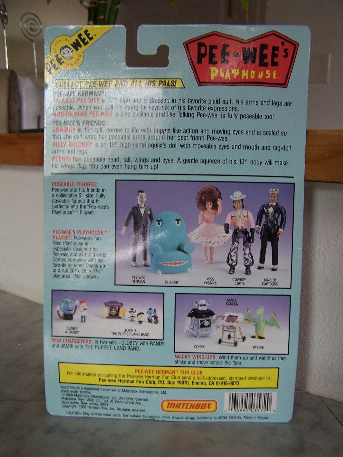 1988 PEE-WEE Playhouse Vintage Matchbox PTERRI Wind Figure Up toy action Figure Wind (NEW) cc149f