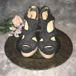 878833c014f Lucky Brand Platform Wedge Heel Sandals Size 8.5 Black Open Toe ...