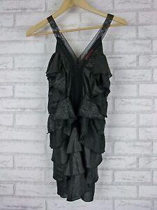 MANNING-CARTELL-Dress-Sz-6-Black-Wet-look-Tiered-frills-Evening-event