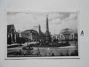 Postkarte-Ansichtskarte-Sachsen-Leipzig-Augustplatz-mit-Mandebrunnen-und-Neuen-T