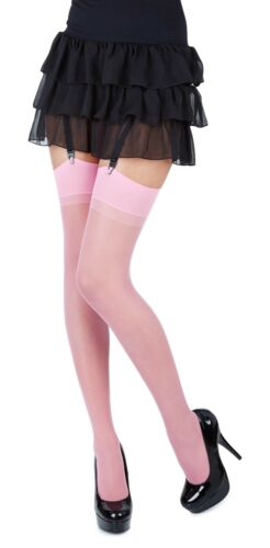 One Size /& Plus Size,12 Various Colours Plain Top Sheer Stockings by Romartex
