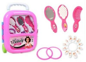 cc59faeeb685 Details about Girl PULL ALONG BEAUTY CARRY CASE Role Play Set Makeup  Cosmetic Dress Up Pretend