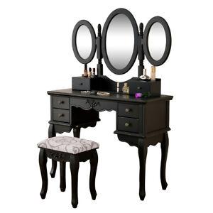 Delman schminktisch kosmetiktisch frisiertisch schmucktisch schwarz 01 0002bk ebay - Frisiertisch schwarz ...