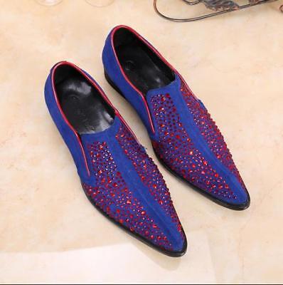 Men Sapphire Red Rhinestones Formal Dress Wedding Shoes Pointed
